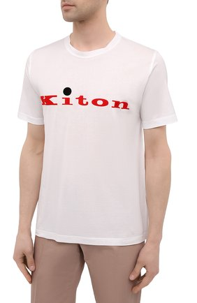 Мужская хлопковая футболка KITON белого цвета, арт. UK1164   Фото 3