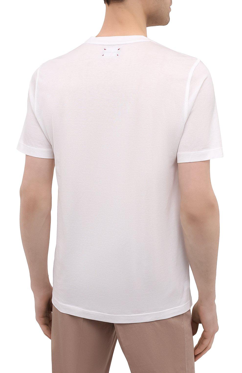 Мужская хлопковая футболка KITON белого цвета, арт. UK1164   Фото 4