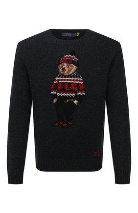 Мужской шерстяной свитер POLO RALPH LAUREN темно-серого цвета, арт. 710822540 | Фото 1 (Материал внешний: Шерсть; Рукава: Длинные; Стили: Кэжуэл; Длина (для топов): Стандартные)