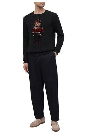 Мужской шерстяной свитер POLO RALPH LAUREN темно-серого цвета, арт. 710822540 | Фото 2 (Материал внешний: Шерсть; Рукава: Длинные; Стили: Кэжуэл; Длина (для топов): Стандартные)