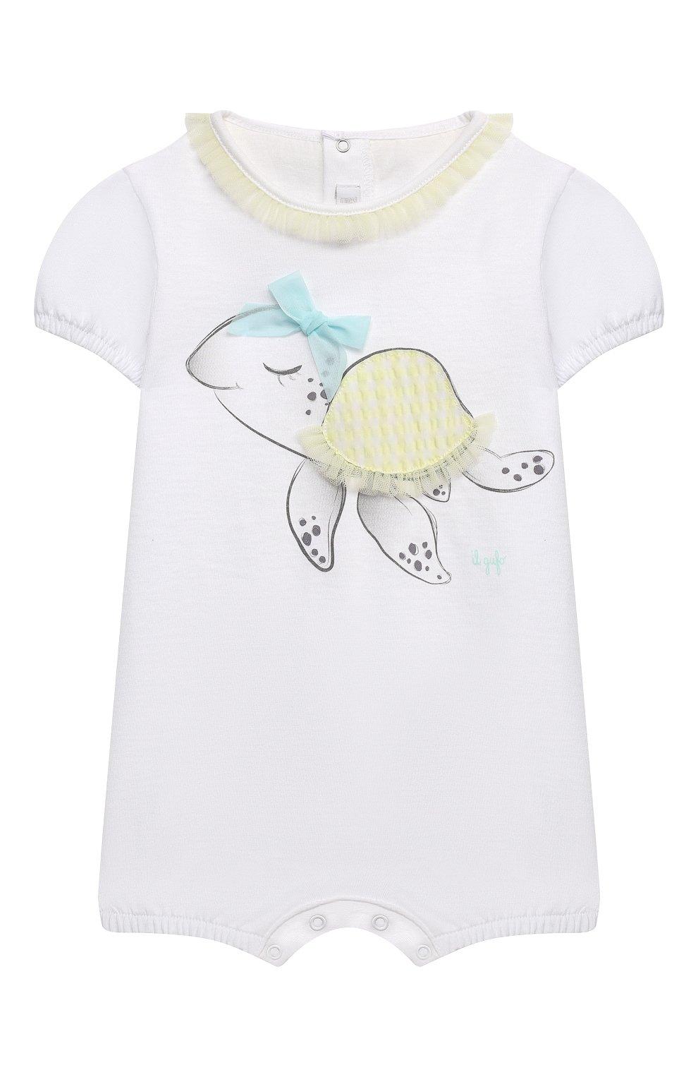 Детское хлопковый комбинезон IL GUFO белого цвета, арт. P21T0241M0014/3M-9M | Фото 1