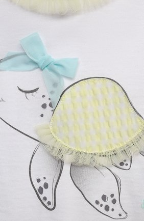 Детское хлопковый комбинезон IL GUFO белого цвета, арт. P21T0241M0014/3M-9M | Фото 3