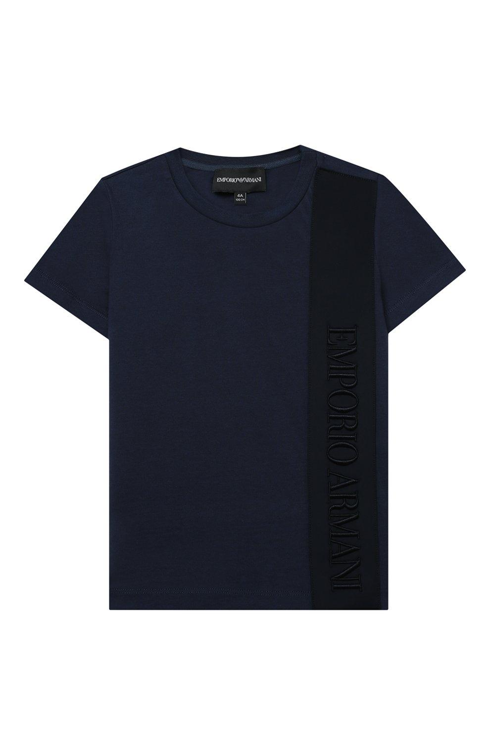 Детского комплект из футболки и шорт EMPORIO ARMANI синего цвета, арт. 3K4VJG/4JJGZ | Фото 2 (Рукава: Короткие; Материал внешний: Хлопок; Мальчики Кросс-КТ: Костюмы-спорт; Ростовка одежда: 10 - 11 лет | 140 - 146см, 13 - 15 лет | 158 см, 16 лет | 164 см, 4 года | 104 см, 5 лет | 110 см, 6 лет | 116 см, 7 лет | 122 см, 8 лет | 128 см)