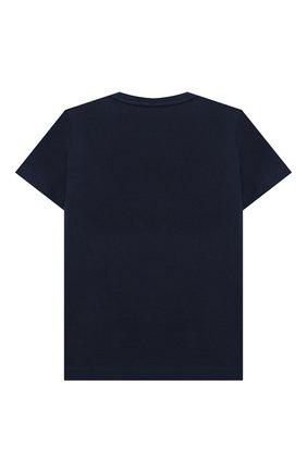 Детского комплект из футболки и шорт EMPORIO ARMANI синего цвета, арт. 3K4VJG/4JJGZ | Фото 3 (Рукава: Короткие; Материал внешний: Хлопок; Мальчики Кросс-КТ: Костюмы-спорт; Ростовка одежда: 10 - 11 лет | 140 - 146см, 13 - 15 лет | 158 см, 16 лет | 164 см, 4 года | 104 см, 5 лет | 110 см, 6 лет | 116 см, 7 лет | 122 см, 8 лет | 128 см)
