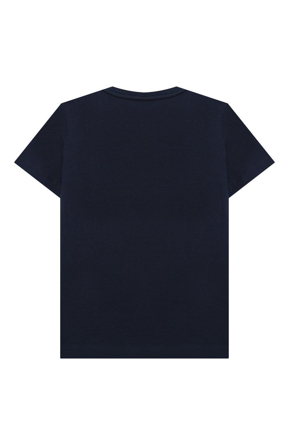 Детского комплект из футболки и шорт EMPORIO ARMANI темно-синего цвета, арт. 3K4VJG/4JJGZ | Фото 3 (Рукава: Короткие; Материал внешний: Хлопок; Мальчики Кросс-КТ: Костюмы-спорт; Ростовка одежда: 10 - 11 лет | 140 - 146см, 13 - 15 лет | 158 см, 16 лет | 164 см, 4 года | 104 см, 5 лет | 110 см, 6 лет | 116 см, 7 лет | 122 см, 8 лет | 128 см)