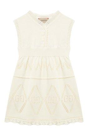 Женский хлопковое платье GUCCI бежевого цвета, арт. 646810/XKBQ0 | Фото 1