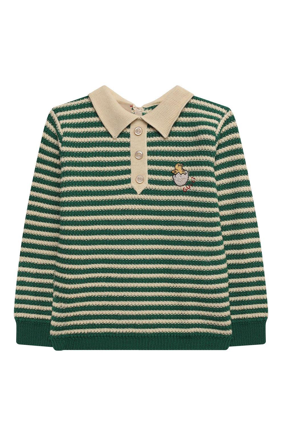 Детский пуловер из шерсти и хлопка GUCCI зеленого цвета, арт. 639462/XKBN2   Фото 1