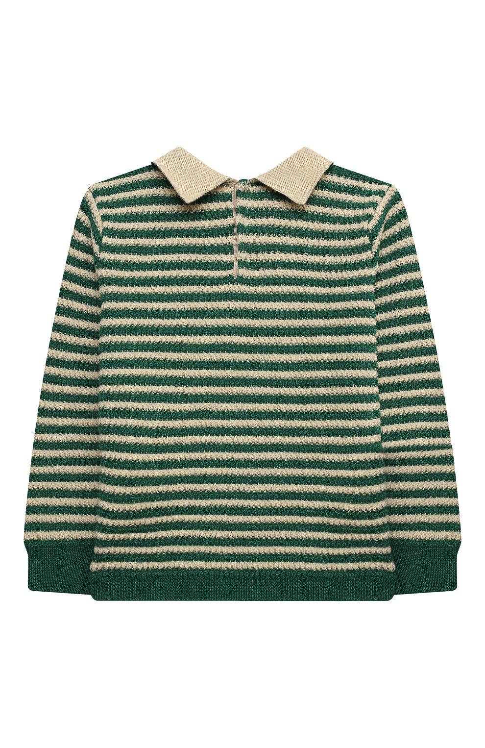 Детский пуловер из шерсти и хлопка GUCCI зеленого цвета, арт. 639462/XKBN2   Фото 2