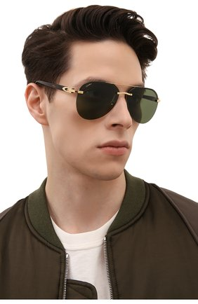 Мужские солнцезащитные очки CARTIER зеленого цвета, арт. CT0275SA 002 | Фото 2