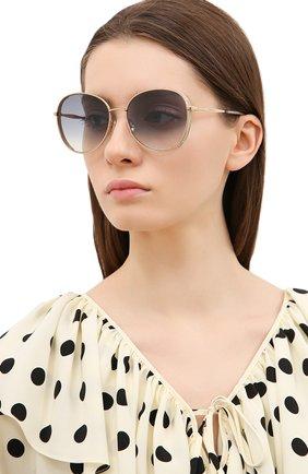 Женские солнцезащитные очки JIMMY CHOO золотого цвета, арт. FELINE 000 | Фото 2