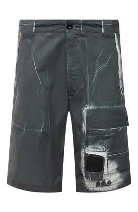 Мужские шорты C.P. COMPANY зеленого цвета, арт. 10CMBE215A-005990P | Фото 1 (Длина Шорты М: До колена, Ниже колена; Материал внешний: Синтетический материал; Принт: С принтом; Мужское Кросс-КТ: Шорты-одежда; Стили: Милитари)