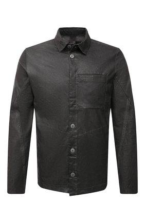 Мужская кожаная рубашка TRANSIT темно-серого цвета, арт. CFUTRNS281   Фото 1 (Рукава: Длинные; Длина (для топов): Стандартные; Случай: Повседневный; Принт: Однотонные; Воротник: Кент; Манжеты: На пуговицах)