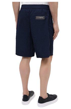 Мужские шорты ICEBERG синего цвета, арт. 21E I1P0/D060/5145   Фото 4 (Мужское Кросс-КТ: Шорты-одежда; Длина Шорты М: До колена; Принт: Без принта; Материал внешний: Синтетический материал; Стили: Спорт-шик)