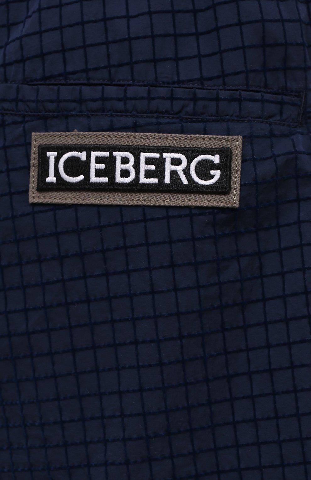 Мужские шорты ICEBERG синего цвета, арт. 21E I1P0/D060/5145   Фото 5 (Мужское Кросс-КТ: Шорты-одежда; Длина Шорты М: До колена; Принт: Без принта; Материал внешний: Синтетический материал; Стили: Спорт-шик)