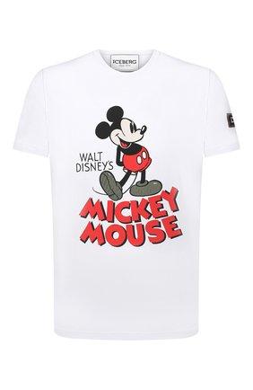 Мужская хлопковая футболка ICEBERG белого цвета, арт. 21E I1P0/F011/6309 | Фото 1 (Материал внешний: Хлопок; Длина (для топов): Стандартные; Рукава: Короткие; Принт: С принтом; Стили: Гранж)