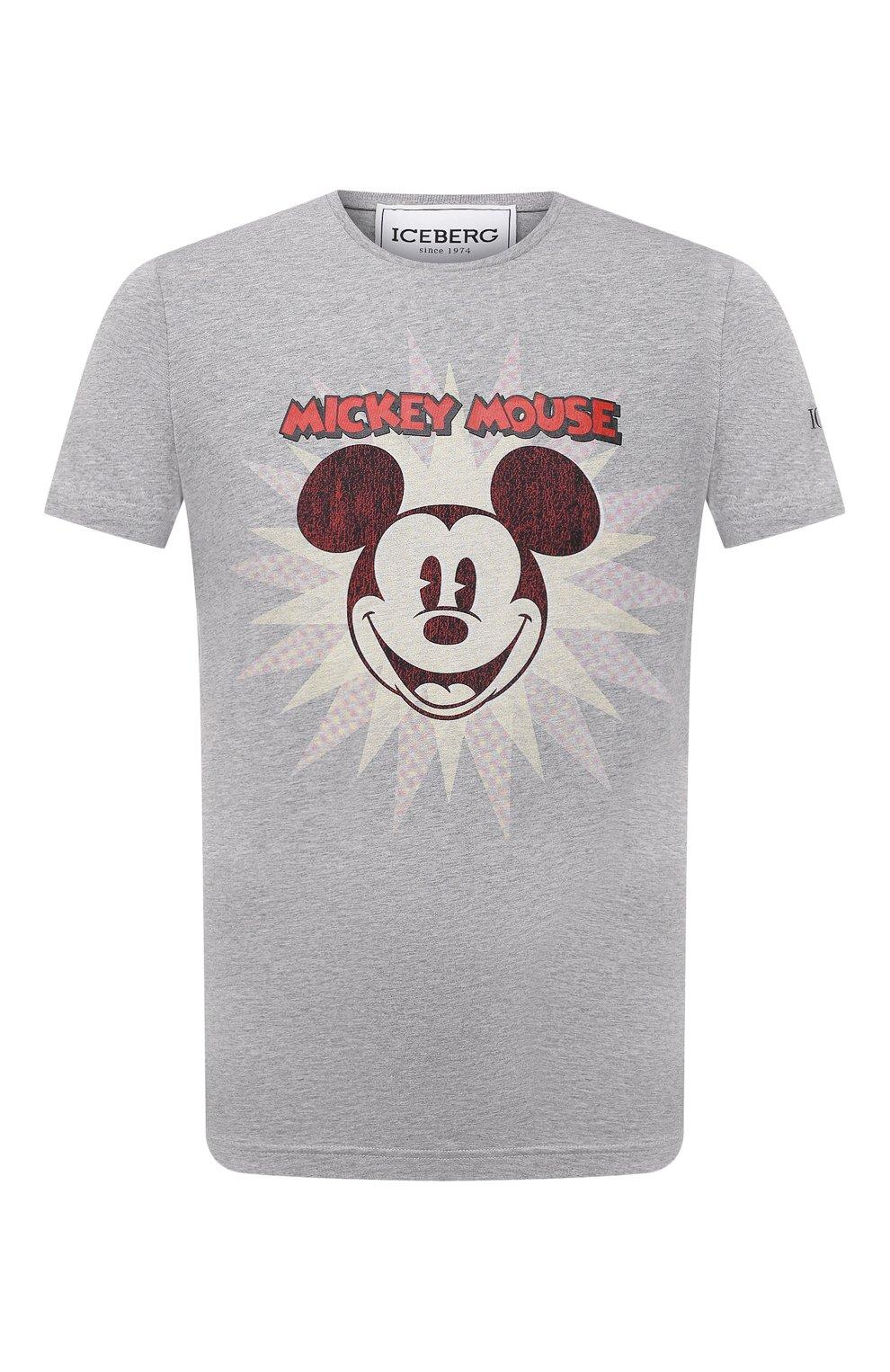 Мужская хлопковая футболка ICEBERG серого цвета, арт. 21E I1P0/F016/6301 | Фото 1 (Рукава: Короткие; Длина (для топов): Стандартные; Стили: Гранж; Принт: С принтом; Материал внешний: Хлопок)