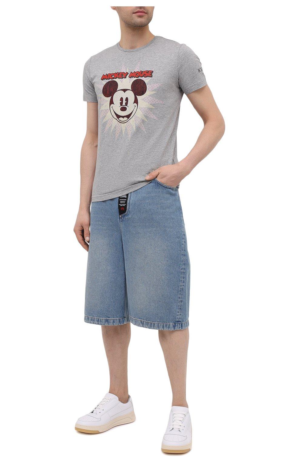 Мужская хлопковая футболка ICEBERG серого цвета, арт. 21E I1P0/F016/6301 | Фото 2 (Рукава: Короткие; Длина (для топов): Стандартные; Стили: Гранж; Принт: С принтом; Материал внешний: Хлопок)