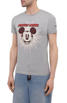 Мужская хлопковая футболка ICEBERG серого цвета, арт. 21E I1P0/F016/6301 | Фото 3 (Рукава: Короткие; Длина (для топов): Стандартные; Стили: Гранж; Принт: С принтом; Материал внешний: Хлопок)