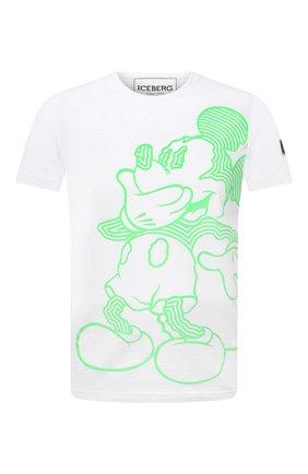 Мужская хлопковая футболка ICEBERG белого цвета, арт. 21E I1P0/F019/6304 | Фото 1 (Длина (для топов): Стандартные; Рукава: Короткие; Материал внешний: Хлопок; Принт: С принтом; Стили: Гранж)