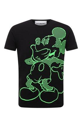 Мужская хлопковая футболка ICEBERG черного цвета, арт. 21E I1P0/F019/6304 | Фото 1