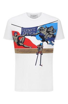 Мужская хлопковая футболка ICEBERG белого цвета, арт. 21E I1P0/F01C/6304 | Фото 1 (Рукава: Короткие; Материал внешний: Хлопок; Длина (для топов): Стандартные; Принт: С принтом; Стили: Гранж)