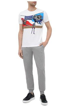 Мужская хлопковая футболка ICEBERG белого цвета, арт. 21E I1P0/F01C/6304 | Фото 2 (Рукава: Короткие; Материал внешний: Хлопок; Длина (для топов): Стандартные; Принт: С принтом; Стили: Гранж)
