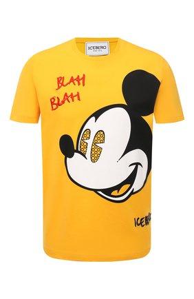 Мужская хлопковая футболка ICEBERG желтого цвета, арт. 21E I1P0/F024/6301 | Фото 1