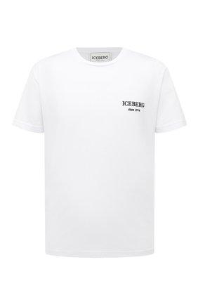 Мужская хлопковая футболка ICEBERG белого цвета, арт. 21E I1P0/F026/6301 | Фото 1 (Материал внешний: Хлопок; Длина (для топов): Стандартные; Рукава: Короткие; Стили: Гранж; Принт: С принтом)