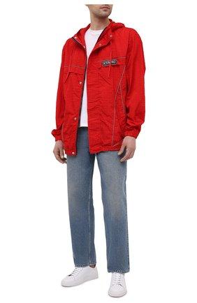 Мужской бомбер ICEBERG красного цвета, арт. 21E I1P0/0050/5145 | Фото 2 (Материал внешний: Синтетический материал; Рукава: Длинные; Стили: Гранж; Кросс-КТ: Куртка; Принт: Без принта; Длина (верхняя одежда): До середины бедра)