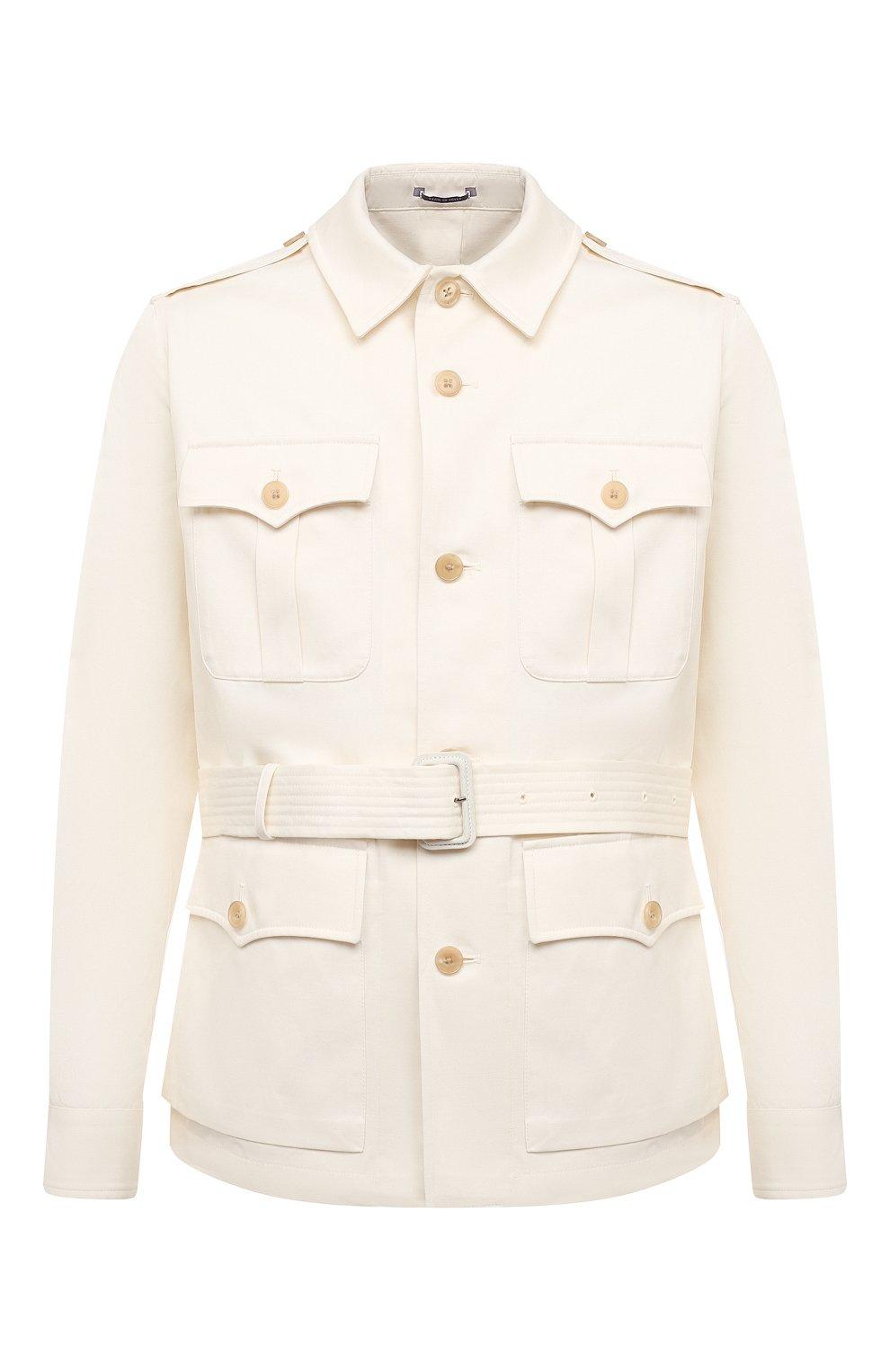 Мужская куртка из хлопка и льна RALPH LAUREN белого цвета, арт. 798838200 | Фото 1