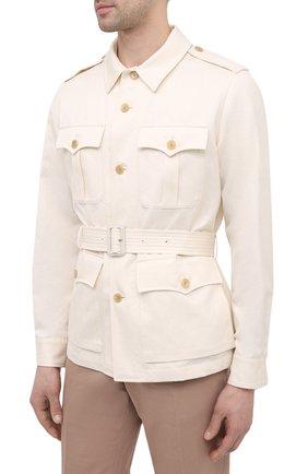 Мужская куртка из хлопка и льна RALPH LAUREN белого цвета, арт. 798838200 | Фото 3