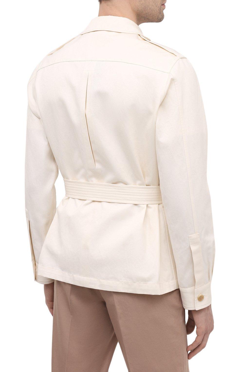 Мужская куртка из хлопка и льна RALPH LAUREN белого цвета, арт. 798838200 | Фото 4