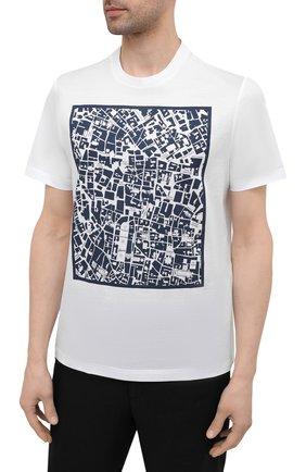Мужская хлопковая футболка BRIONI белого цвета, арт. UJCH0L/P0645 | Фото 3