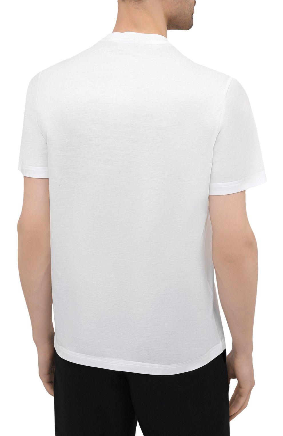 Мужская хлопковая футболка BRIONI белого цвета, арт. UJCH0L/P0645 | Фото 4