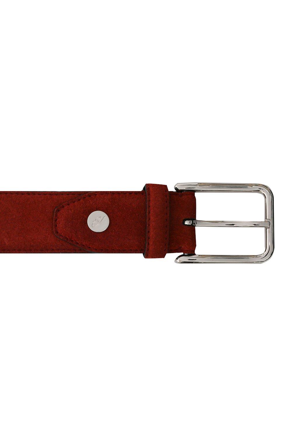 Мужской замшевый ремень BRIONI бордового цвета, арт. 0B1A0L/09722   Фото 3