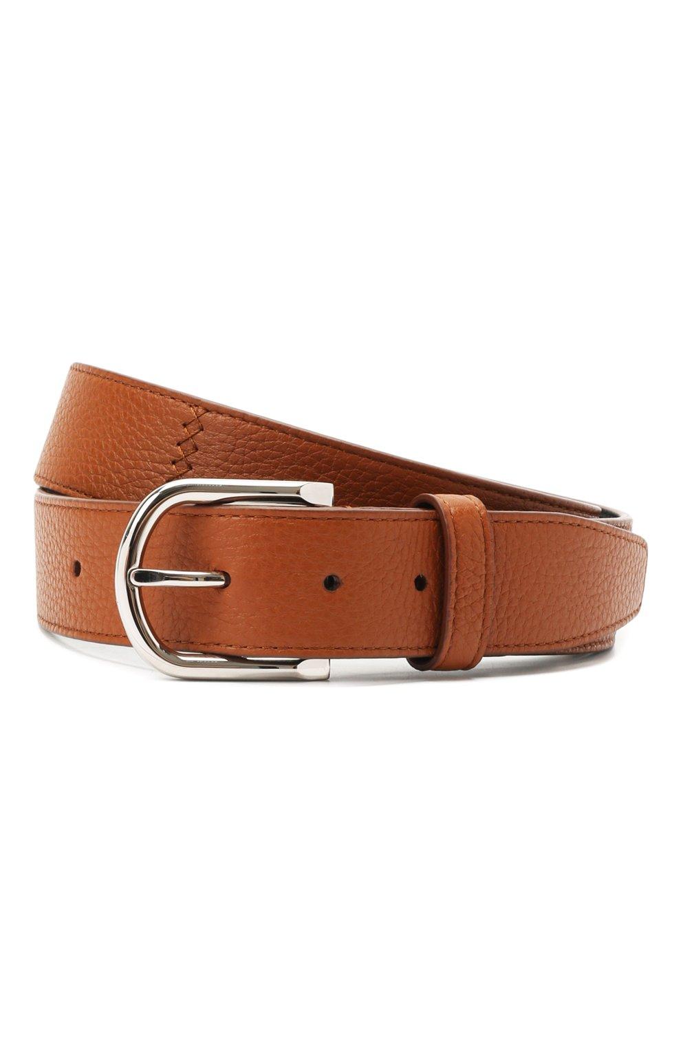 Мужской кожаный ремень BRIONI светло-коричневого цвета, арт. 0BAN0L/09719 | Фото 1