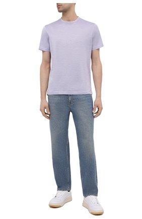 Мужская хлопковая футболка LUCIANO BARBERA фиолетового цвета, арт. 119565/81215 | Фото 2