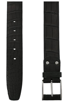Мужской ремень из кожи крокодила ZILLI черного цвета, арт. MJL-NADAE-01010/0819/CP0R | Фото 2