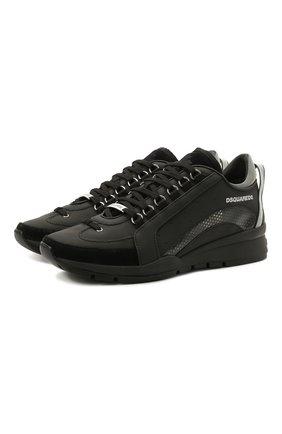 Мужские кожаные кроссовки 551 DSQUARED2 черного цвета, арт. SNM0153 30801660 | Фото 1