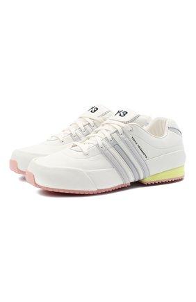 Мужские кожаные кроссовки sprint Y-3 белого цвета, арт. FZ4474/M | Фото 1 (Подошва: Массивная; Материал внутренний: Натуральная кожа; Стили: Спорт)