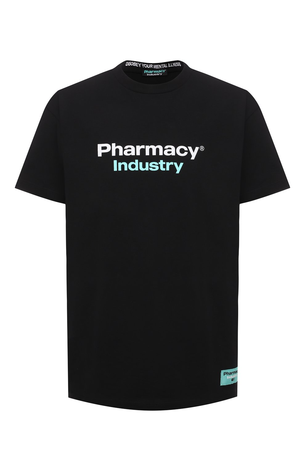 Мужская хлопковая футболка PHARMACY INDUSTRY черного цвета, арт. PHM235   Фото 1