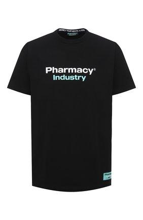 Мужская хлопковая футболка PHARMACY INDUSTRY черного цвета, арт. PHM235 | Фото 1