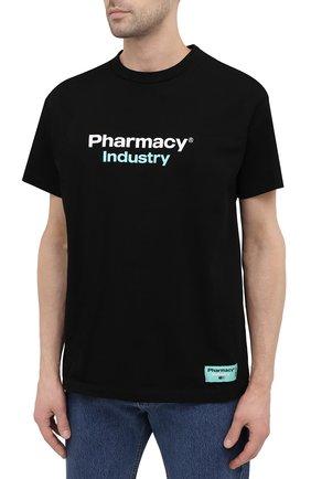 Мужская хлопковая футболка PHARMACY INDUSTRY черного цвета, арт. PHM235   Фото 3