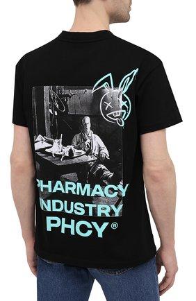 Мужская хлопковая футболка PHARMACY INDUSTRY черного цвета, арт. PHM235   Фото 4