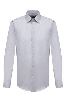 Мужская хлопковая сорочка BOSS темно-серого цвета, арт. 50451047 | Фото 1 (Рукава: Длинные; Материал внешний: Хлопок; Длина (для топов): Стандартные; Случай: Формальный; Принт: Полоска; Стили: Классический; Воротник: Кент; Манжеты: На пуговицах; Рубашки М: Slim Fit)