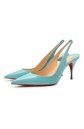 Женские кожаные туфли clare sling CHRISTIAN LOUBOUTIN бирюзового цвета, арт. 1190842/CLARE SLING 80 | Фото 1