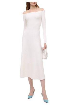 Женские кожаные туфли clare sling CHRISTIAN LOUBOUTIN бирюзового цвета, арт. 1190842/CLARE SLING 80 | Фото 2