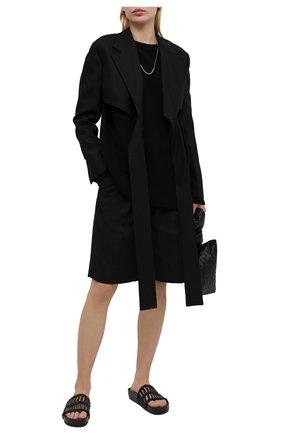 Женские кожаные шлепанцы JIL SANDER черного цвета, арт. JS36040A-13040 | Фото 2 (Материал внутренний: Натуральная кожа; Подошва: Платформа)