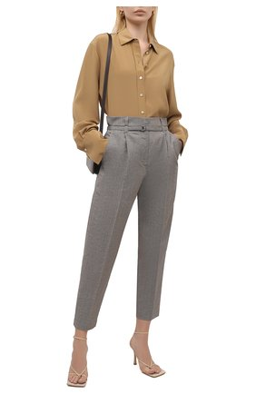 Женские брюки из шерсти и льна BRUNELLO CUCINELLI серого цвета, арт. MH513P7461 | Фото 2