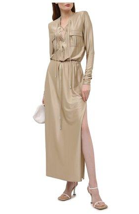 Женское платье из вискозы ALEXANDRE VAUTHIER бежевого цвета, арт. 211DR1437 1406-211 | Фото 2